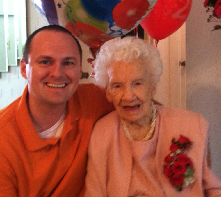 Elsie Thompson and her pastor, Rev. Michael Pestel, at her 112th birthday party.