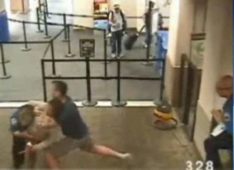 shoeless cop saves TSA agent from homeless attack