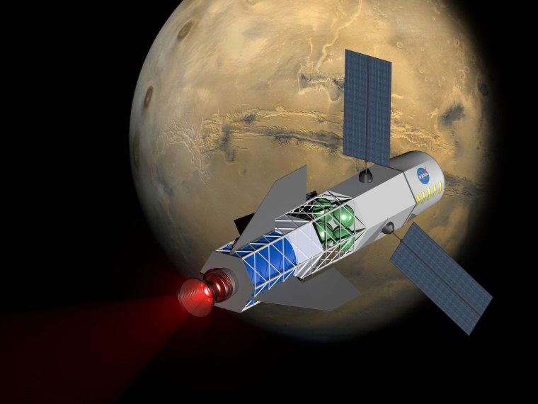 An artist's conception shows a spacecraft powered by a fusion-driven rocket. In this image, the crew would be in the forward chamber, shielded from the fusion reactor toward the back. Solar panels on the sides would collect energy to initiate the process that creates a fusion reaction.