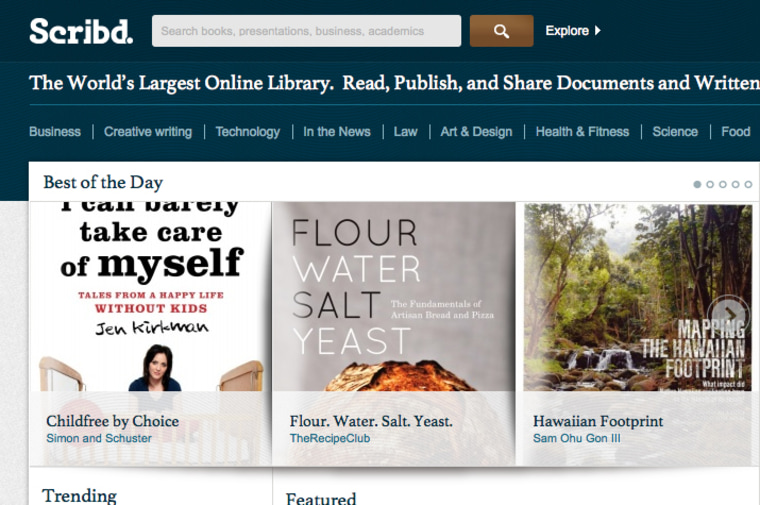 Scribd home page