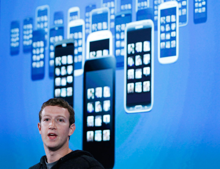Mark Zuckerberg, Facebook's co-founder and chief executive during a Facebook press event to introduce 'Home' a Facebook app suite that integrates with...