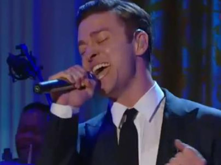 Justin Timberlake performs at the White House on April 9.