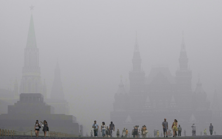 In this file photo, Red Square is seen as tourists walk through thick smog during a heat wave on Aug. 7, 2010. The heat wave was warmer than any since at least 1400, new research says.