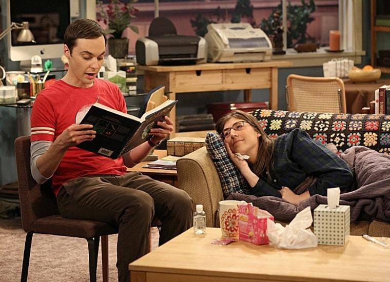 "Sheldon tries to nurse a sick Amy back to health on ""The Big Bang Theory."""