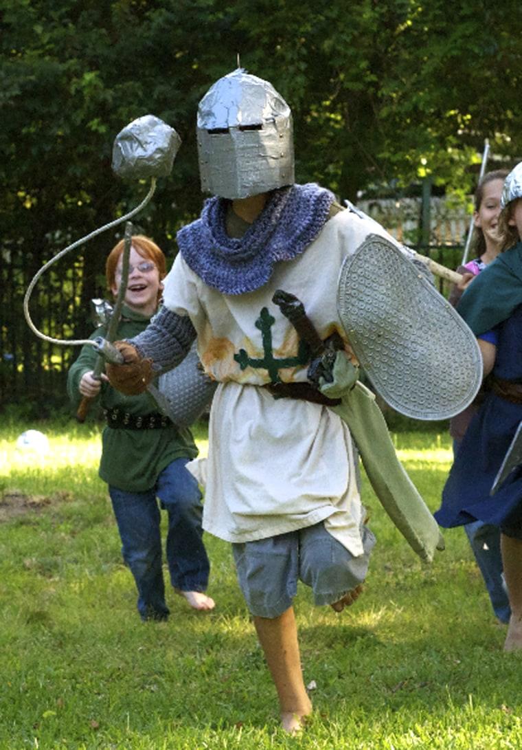 Seth Harding dressed as a knight.