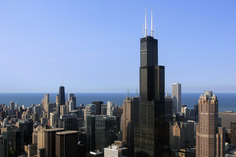 Where the Boomers are. The Chicago skyline featuring the Sears Tower is seen from a helicopter 06 July 2006 in Chicago, Illinois.