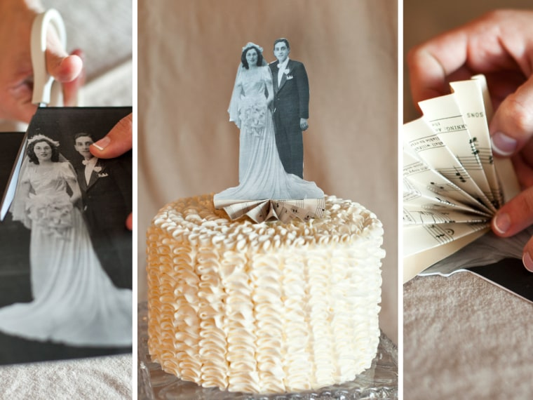 Too cute? Posh Paperie made a DIY heirloom cake topper with just a vintage photo, tape, stock paper and vintage music sheet paper.