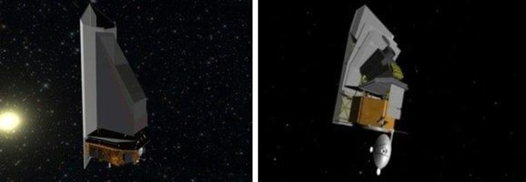 The artist's concepts for the NEOCam infrared telescope (left) and the Sentinel Space Telescope (right) look similar. Both are designed to scan the skies for near-Earth asteroids.