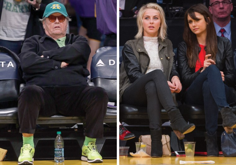 Jack Nicholson, left, at the Los Angeles Lakers game on Sunday, along with Julianne Hough and Nina Dobrev, far right.