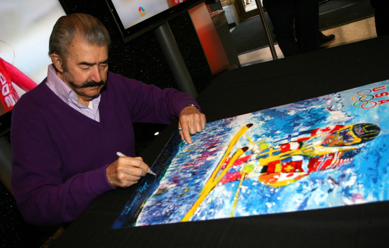 Artist LeRoy Neiman signs autographs at the 100 Days to Vancouver Celebration on Nov. 4, 2009 at Rockefeller Center in New York City.