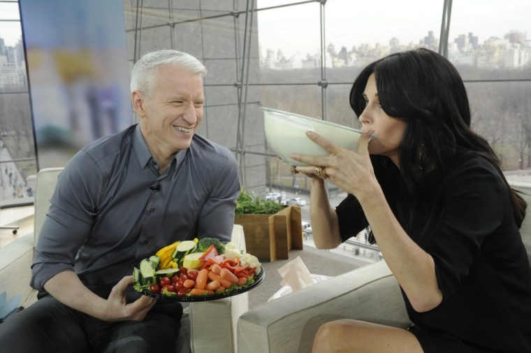 "Courteney Cox drinks ranch dressing on ""Anderson."""