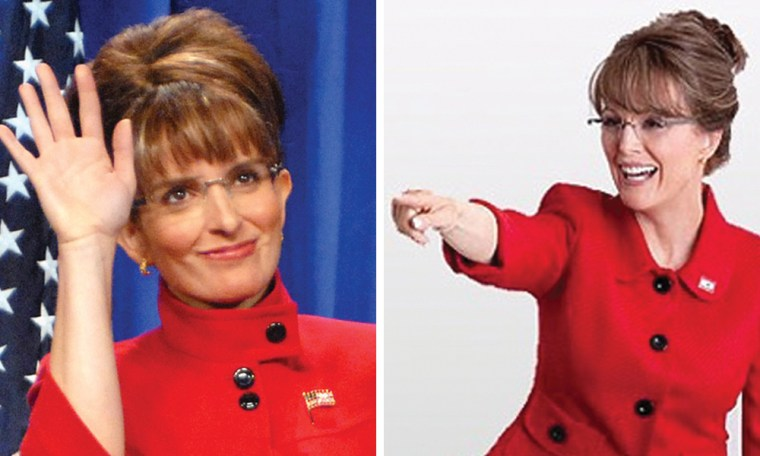 Tina Fey, left, and Julianne Moore in character as former Alaska Gov. Sarah Palin.