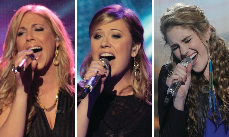 "Elise Testone, Erika Van Pelt and Shannon Magrane were all in the bottom three on March 15 on \""American Idol.\"""