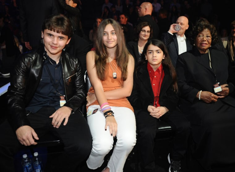 """Michael Jackson's children, Prince Michael, Paris and \""""Blanket,\"""" and the late singer's mother, Katherine Jackson, visited \""""X Factor\"""" Wednesday night."""