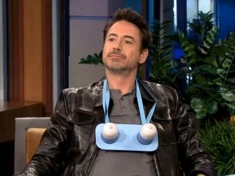 """Actor Robert Downey, Jr. tried on a gift from Jay Leno on Monday night's \""""Tonight Show.\"""""""