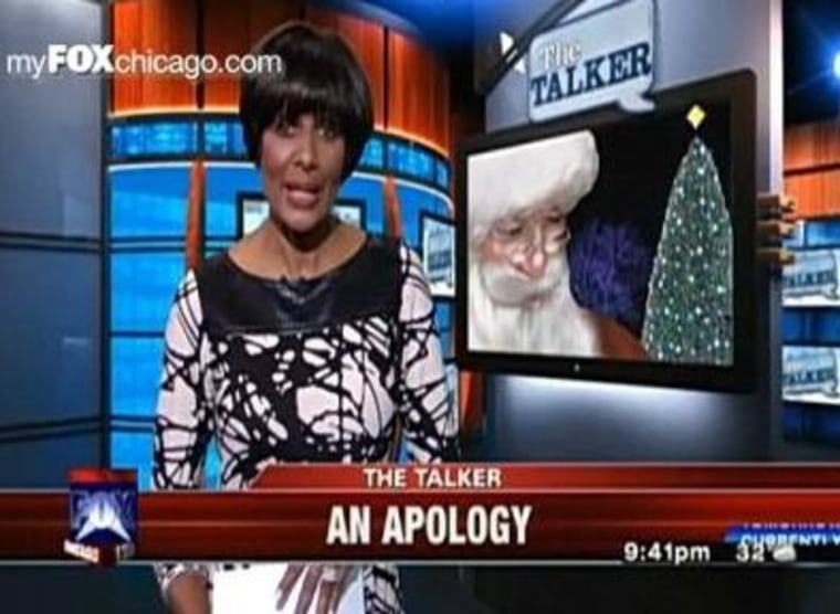 WFLD's Robin Robinson issued an apology to viewers after dashing the Santa dream for some children the night before.