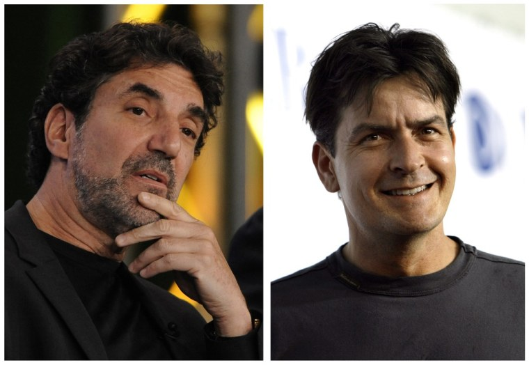 Chuck Lorre, left, poked fun at former star Charlie Sheen again in a holiday card that does not overtly mention the actor.