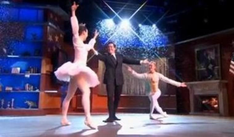 "Stephen Colbert danced alongside David Hallberg and Hee Seo on \""The Colbert Report.\"""