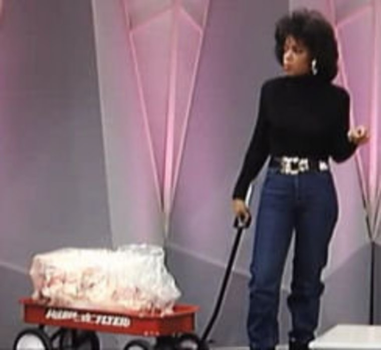 Oprah Winfrey showed her audience exactly how much weight she lost.