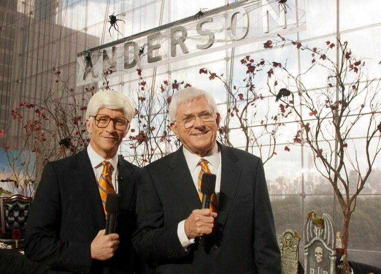 Anderson Cooper, left, with Phil Donahue.