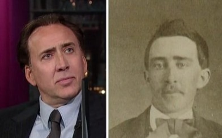 """Nicolas Cage addressed the vampire talk sparked by a 140-year-old photo a man that looked a lot like him on Thursday night's \""""Late Show.\"""""""