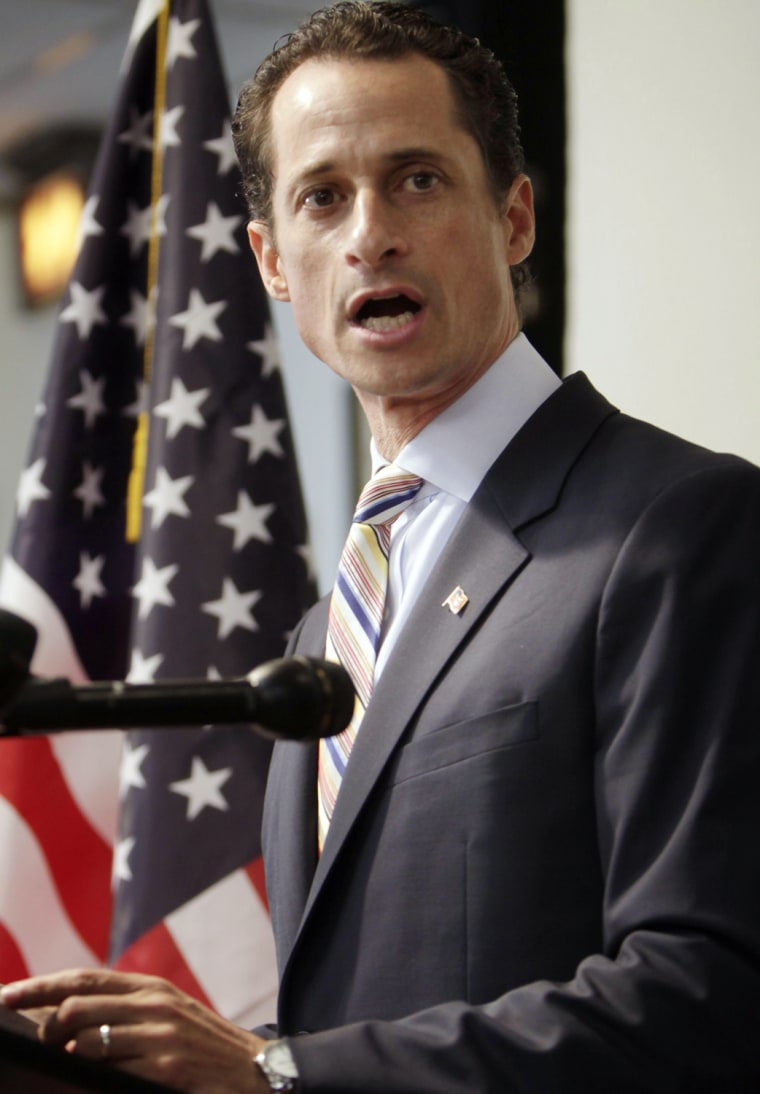 Anthony Weiner announces his resignation from Congress at a news conference in New York on Thursday.