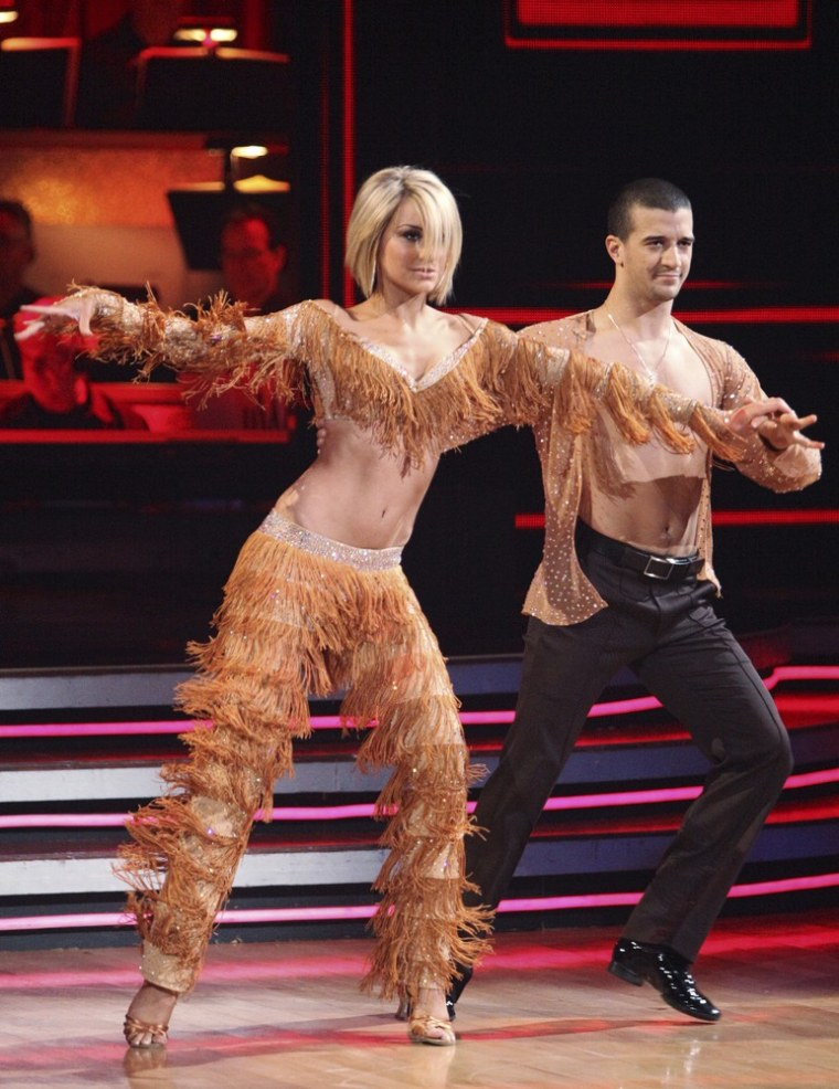 """Mark Ballas with his celebrity partner Chelsea kane on \""""Dancing With the Stars.\"""""""