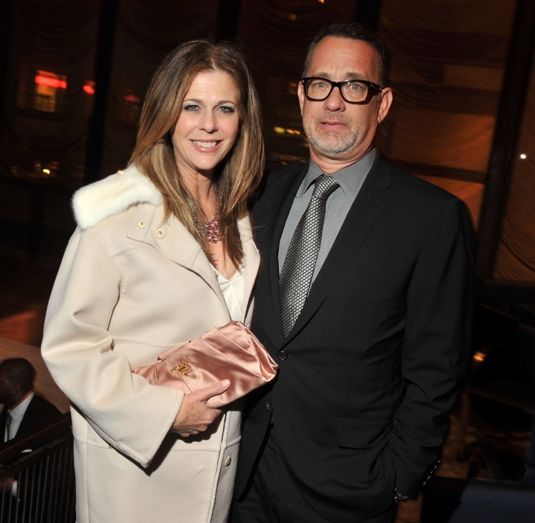 """Rita Wilson and Tom Hanks attend the after party for the \""""Game Change\"""" premiere March 7, 2012, at the Four Seasons Restaurant in New York City."""
