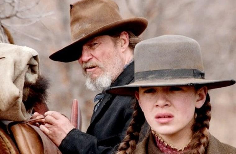"Jeff Bridges stars as Marshal Reuben J. Cogburn and Hailee Steinfeld stars as Mattie Ross in ""True Grit."""