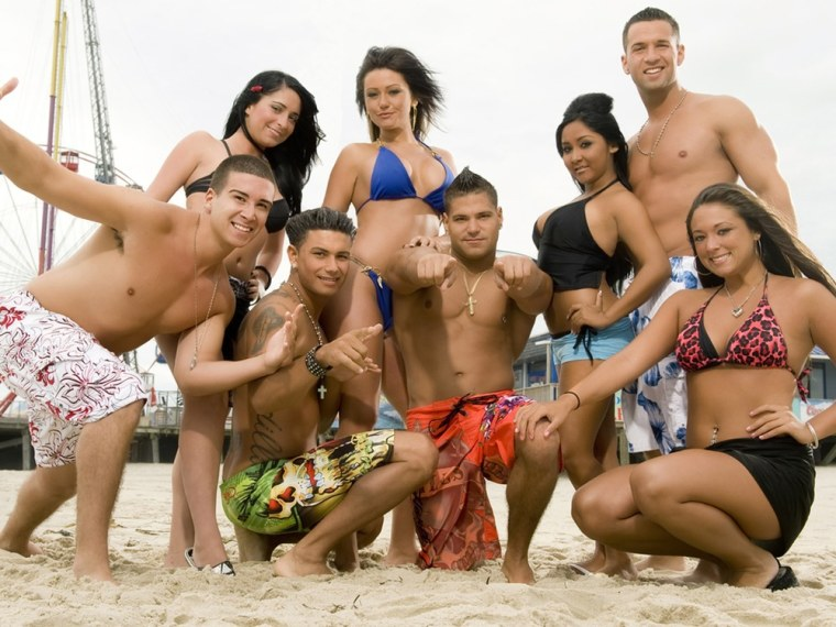 """The cast of \""""Jersey Shore,\"""" from left, Vinny Guadagnino, Angelina Pivarnick, Paul \"""" DJ Pauly D\"""" Delvecchio, Jenni \""""JWOWW\"""" Farley, Ronnie Magro, Nicole \""""Snooki\"""" Polizzi,  Mike \""""The Situation\"""" Sorrentino and Sammi \""""Sweetheart\"""" Giancola has a few plans in store for the new year."""