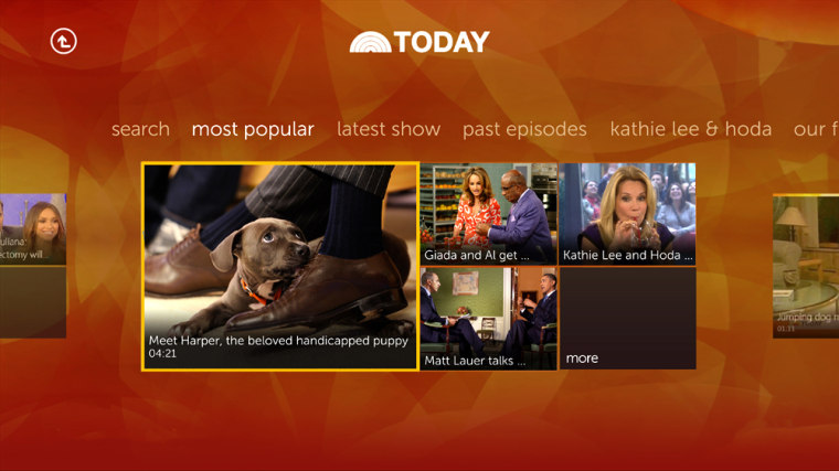 The new custom TODAY.com app on Xbox 360 will enable you to find the most popular videos of the day simply by asking for them vocally.