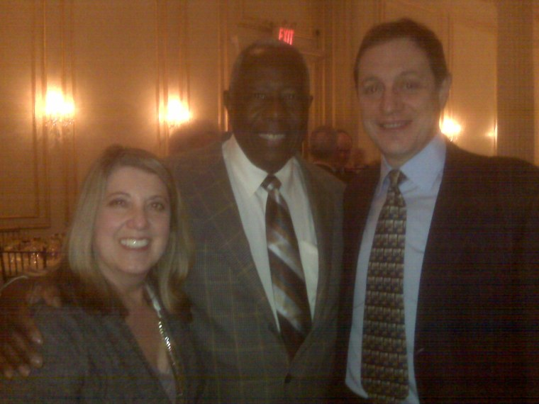 """From left to right: Antoinette Machiaverna, founder and president of the Today Show Charitable Foundation, Henry """"Hank"""" Aaron, and Sam Sagenkahn, project director of the Today Show Charitable Foundation."""