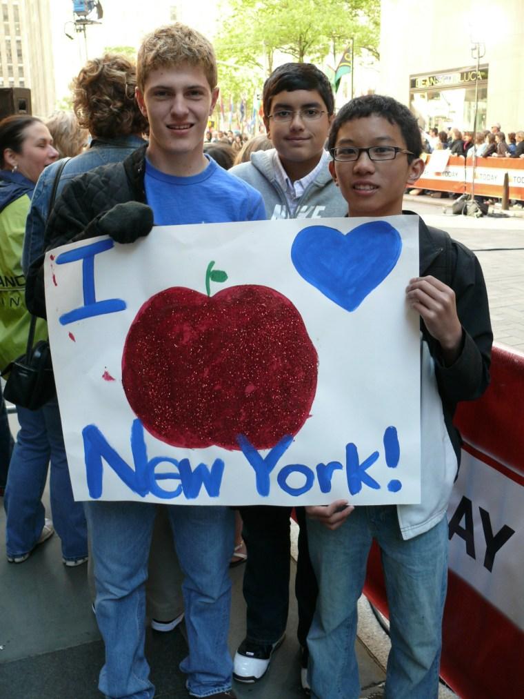 Spencer Bodo, Samar Ahmad and Josh Reyes from Alliance, Ohio love New York!