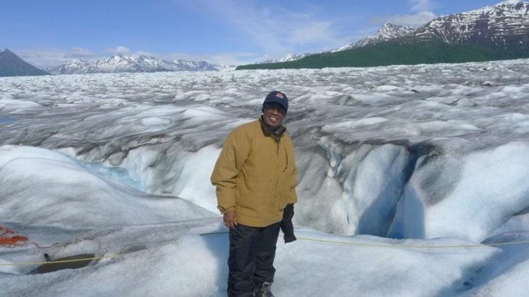 Al on a glacier in Alaska.
