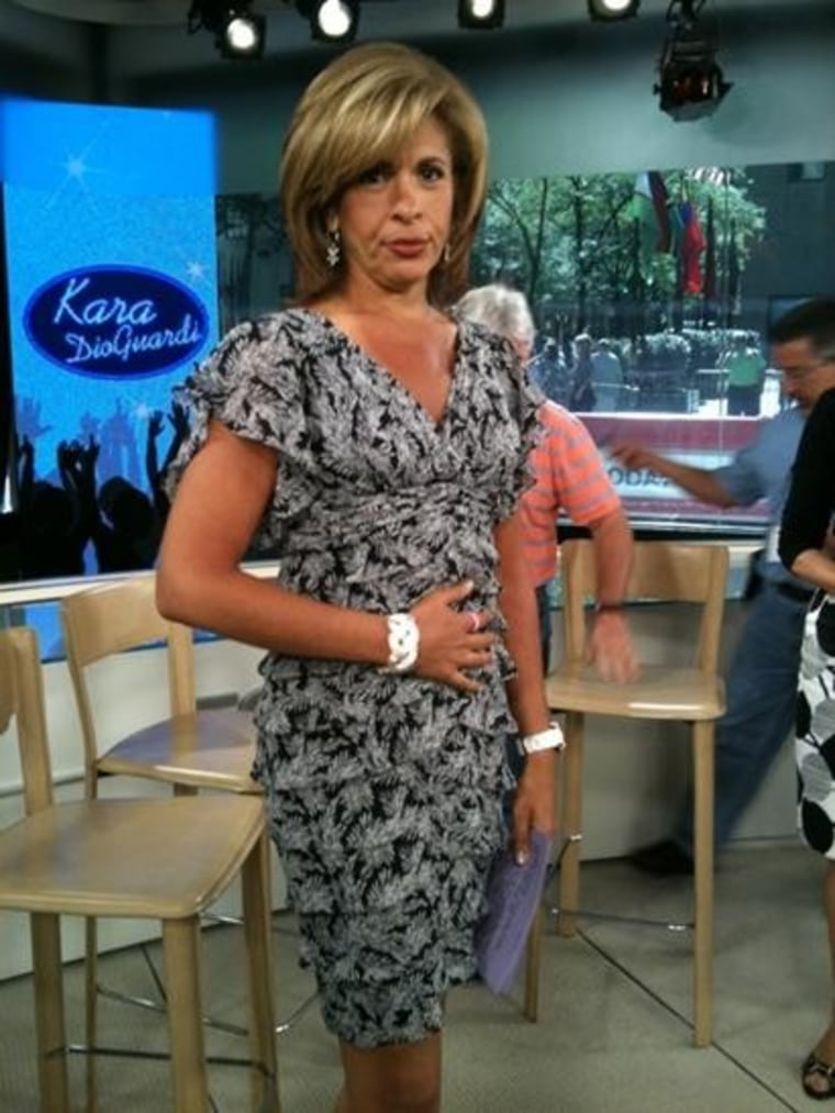 """TODAY's Sara Haines captured Hoda """"patting her food baby from yesterday's snack attack."""""""