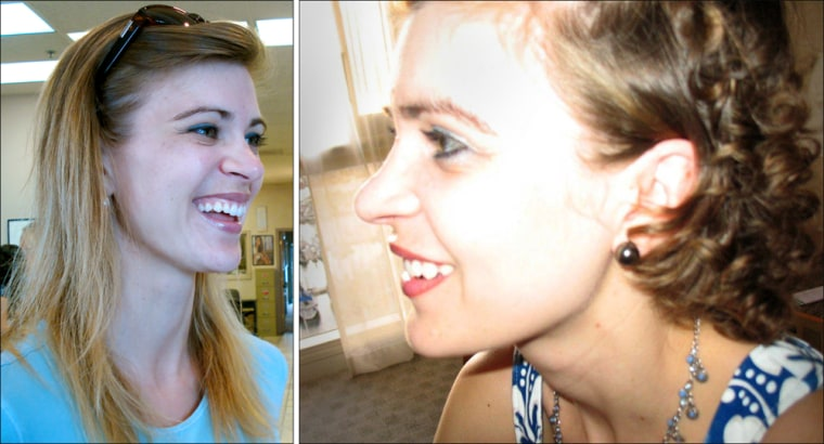 On the left, a pre-chemo Sarah Thebarge still has her thin, blond locks. On the right, Thebarge shows off her