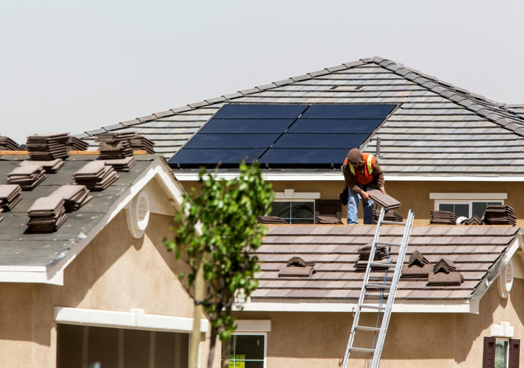 Solar panels installed on new homes at the Dorado Vista housing community in Lancaster, Calif., April 8, 2013. Rex Parris, Lancaster's mayor, is leadi...