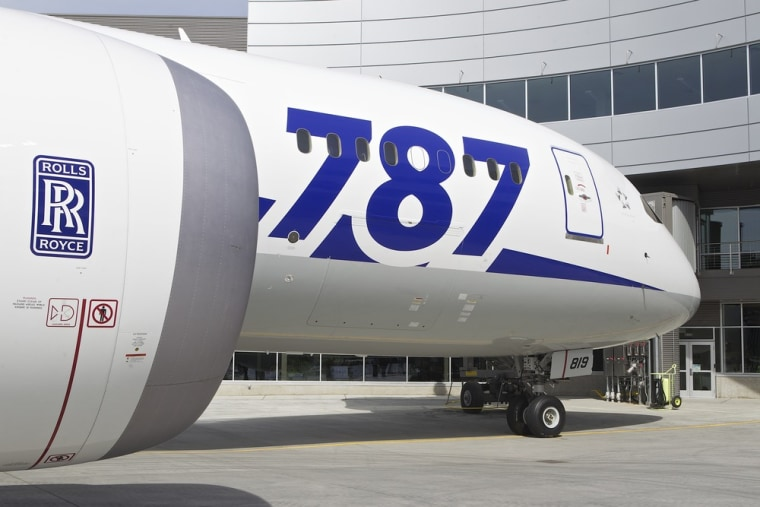 An ANA Boeing 787 Dreamliner sits in front of the Everett Delivery Center April 3, 2013 in Everett, Washington.