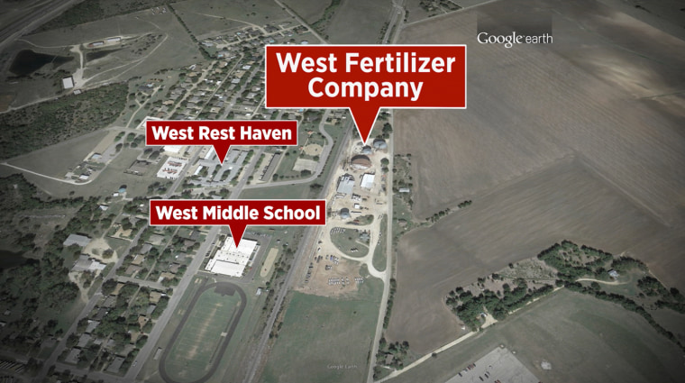 Satellite view showing location of West Fertilizer Company in West, Texas.