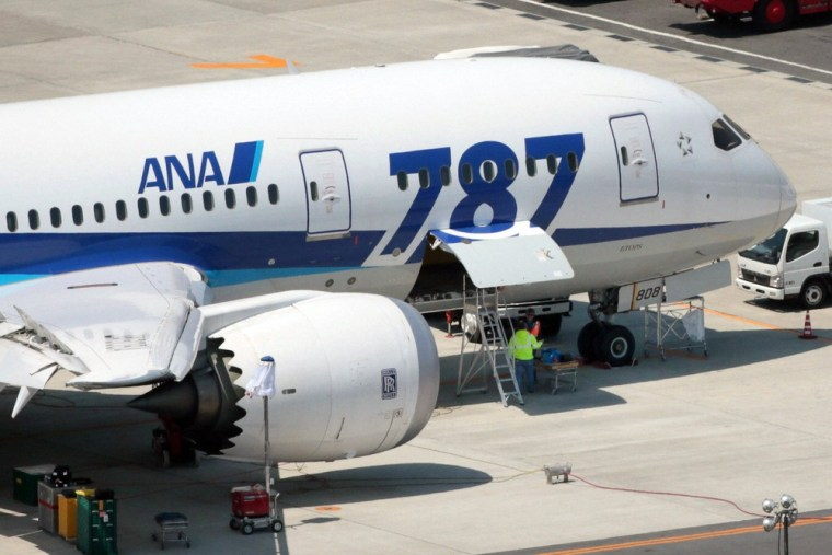An All Nippon Airways' (ANA) Boeing Co's 787 Dreamliner plane receives restoration work at Okayama airport in Okayama, western Japan, in this photo ta...