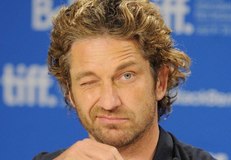 Actor Gerard Butler, pictured in September in Toronto, got a serious scare surfing off the Northern Califronia coast on Sunday.