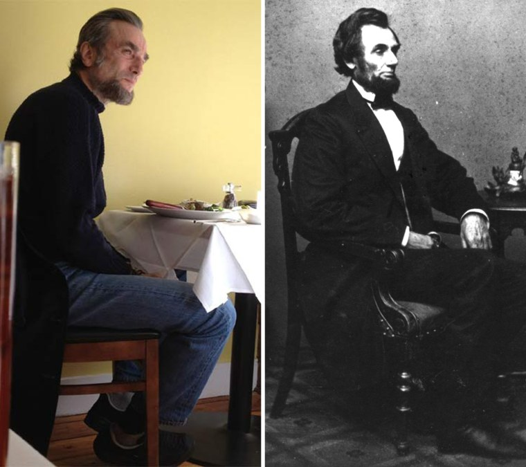 Dinner for two? Actor Daniel Day Lewis, left, in Richmond, Va., this week, and President Lincoln in 1863.