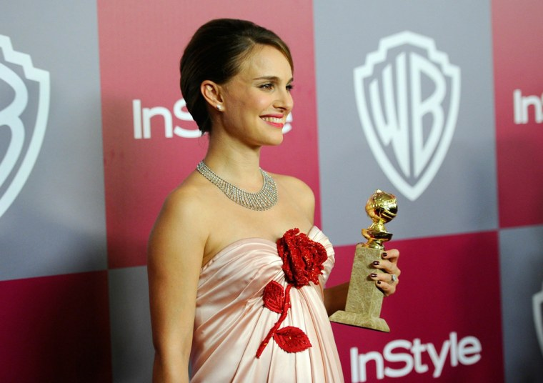"""Natalie Portman arrives at the InStyle and Warner Bros. party after her Golden Globes win for \""""Black Swan\"""" in Beverly Hills on Jan. 16."""