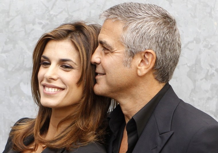 George Clooney and Elisabetta Canalis in Milan, Italy, last September.