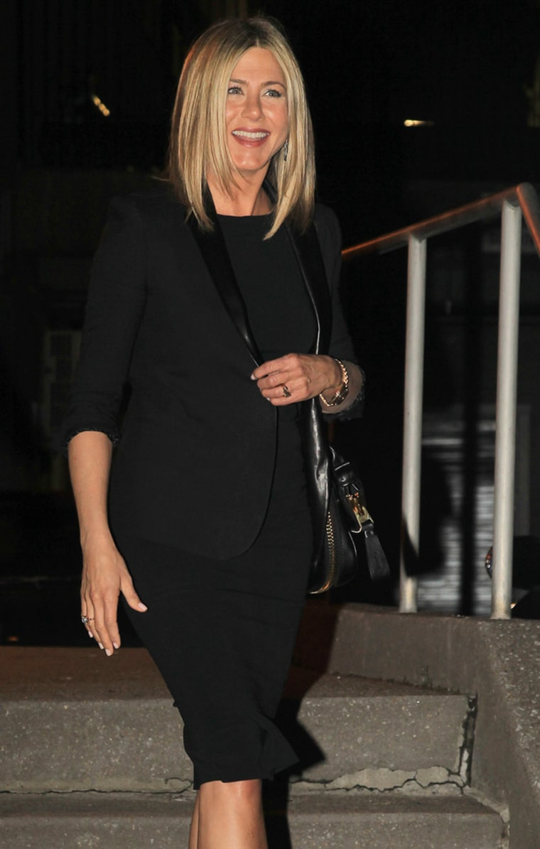"Jennifer Aniston leaves Pace University in New York after attending \""Inside the Actors Studio\"" on Thursday."