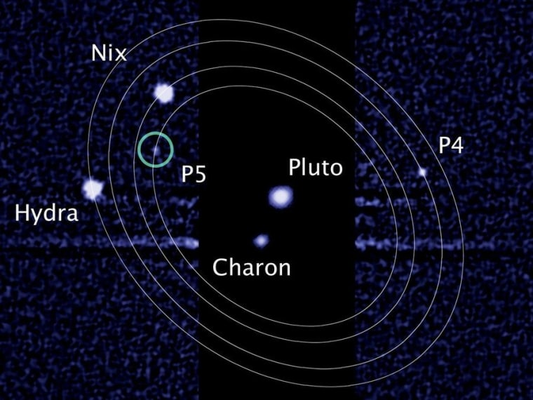 An image from the Hubble Space Telescope shows Pluto and its largest moon, Charon, surrounded by four smaller moons. Astronomers have proposed naming P4 and P5 after Vulcan and Cerberus.