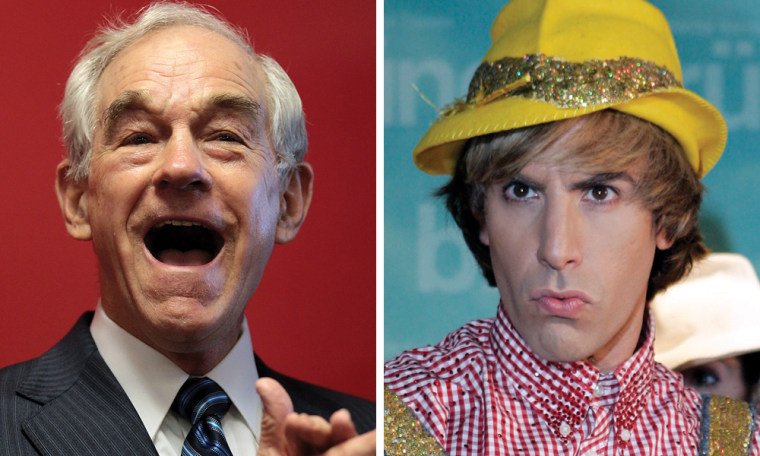 GOP presidential candidate Ron paul, left, and comedian Sacha Baron Cohen as Bruno.