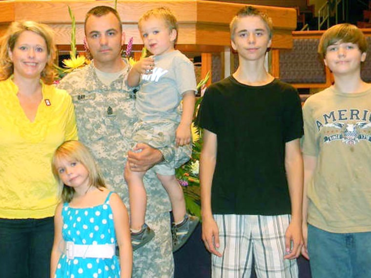 Wendy Day, pictured here with her husband Kevin and their children.