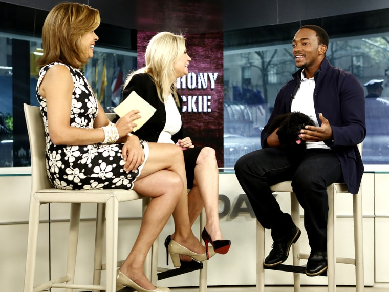 """TODAY -- Pictured: (l-r) Hoda Kotb, Kathie Lee Gifford and Anthony Mackie appear on NBC News' """"Today"""" show -- (Photo by: Peter Kramer/NBC/NBC NewsWire..."""