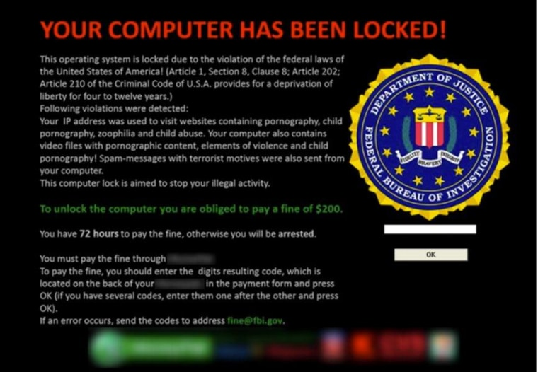 This pop-up screen appears to come from the FBI.